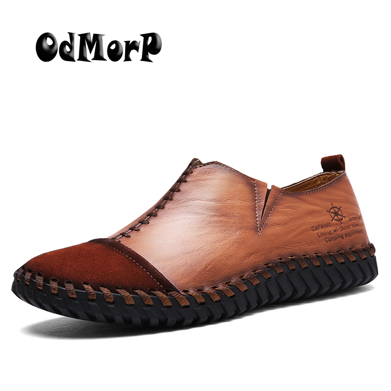 ODMORP Handmade Shoes Casual Leather Loafers Shoes Slip On High Quality Fashion Stylish Autumn Mens Shoes Loafer<br>