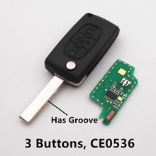 (CE0536 ASK/FSK) Flip Car Remote Key 433MHz ID46 chip for Peugeot 207 208 307 308 407 507 607 3 Buttons Keyless Entry Fob HU83