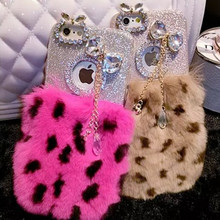 For Apple Iphone 7 Plus 6 6s plus 5 5s Plush Housing Top Real Rex Rabbit Fur Soft Warm Tpu back cover fluffy Bling Diamond case()