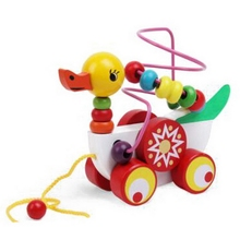 Children's Duck Animal Trailer Around The Bead Beaded Pull Blocks Toys Kids Wood Educational Block Toy