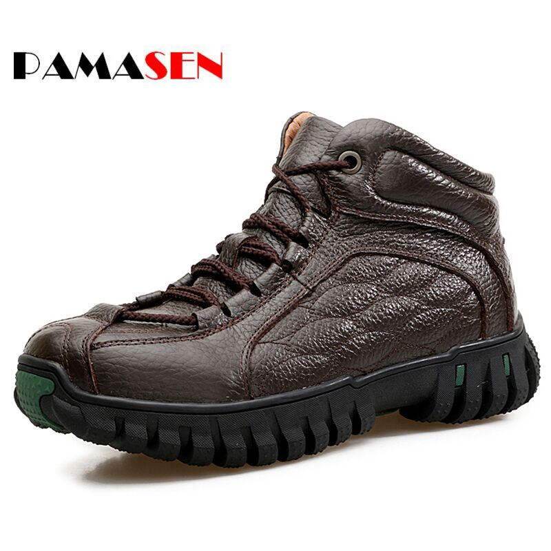 PAMASEN New Genuine Leather Men Winter Boots Plush Keep Warm Comfortable Working Safety Motorcycle Retro Winter Snow Men Shoes