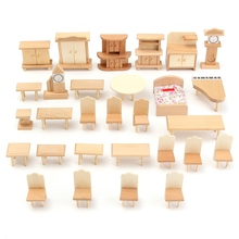 KiWarm Fashion 29Pcs/Set 1:24 Scale Doll House Miniature Unpainted Wooden Furniture Model For Decorate Toy Home Accessory Gifts