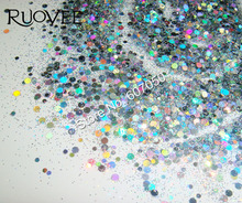 50g Round Nail glitter powder Holographic Laser Silver Solvent Resistant Pigment for Gel Acrylic Nail Polish make up(China)