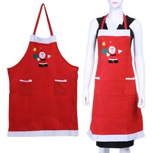 Christmas Kitchen Bar Home Decorations Santa Claus Unisex Aprons Red Non-woven Family Household Christmas Party Supplier(China)