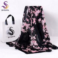[BYSIFA] Winter Black Pink Ladies Scarf 2017 New Design Fashion Accessories Women Silk Scarf Shawl Brand Square Scarves Cape(China)