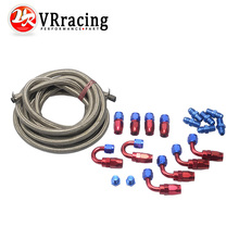 VR RACING- AN6 Stainless Steel Braided Hose + Fitting Hose End Adaptor KIT VR7112+