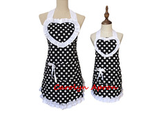 Mother and Daughter Retro Polka Dot Cotton Apron Mommy and Me White Ruffled Kitchen Apron Cooking Avental de Cozinha Divertido(China)