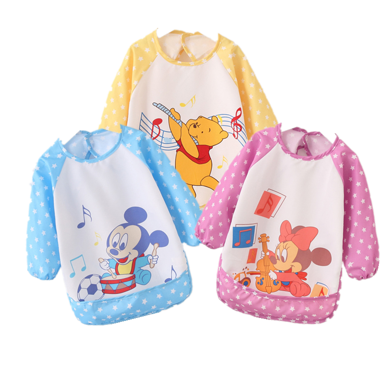 Baby Boy Bibs Waterproof Long Sleeve Mickey Minnie Girl Bibs Kids Burp Cloth Feeding Bib with Pocket Child Apron Smock(China)