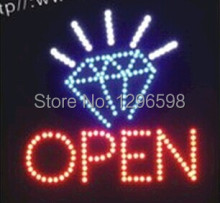2017 Hot Sale 19x19 inch indoor Ultra Bright flashing Diamond jewelry shop neon open sign of led-