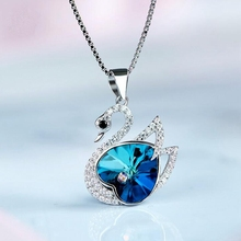 Fashion women S925 Sterling Silver Blue Crystal Swan Necklace Pendant Jewelry Crystal from Swarovski