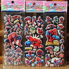 ^ 10pcs / lot. Cartoon hero Spiderman Naughty Bubble sticker School Rewards 3D Wall Stickers Kids Gift Toys Christmas Scrapbook(China)