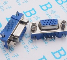 5pcs DB15 DR15 3Rows Blue Parallel Port 15 Pin D Sub Female 15 Way PCB 90 Degree Connector DB15 Socket Plug VGA Adapter(China)