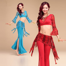 New style Peacock pattern belly dance set women indian dance clothes bellydance costume 3pcs Long sleeve&Pants&Hip towel
