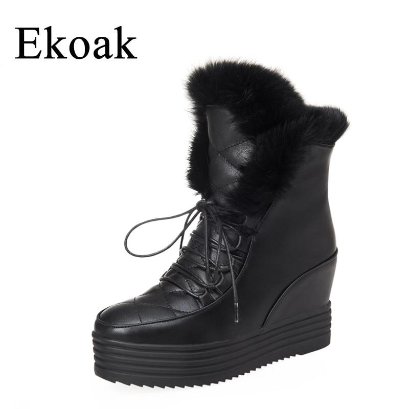 Ekoak New 2017 Fashion Women Snow Boots Winter Ankle Boots Lace-Up Wedges Heels Warm Martin Boots Platform Shoes Woman <br>