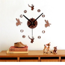 2017 Hot Sale Fashion Retro 3D DIY Wall Clock Pastoral Deer Home Decoration Art clocks Home Kitchen Office Decor relogio parede(China)