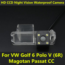 HD Car CCD 4 LED Night Vision Reverse Backup Parking Waterproof Rear View Camera For VW Polo V (6R) Golf 6 VI Passat CC Magotan
