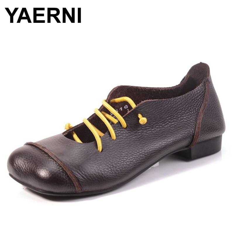 YAERNI Women shoes Flat Genuine Leather Square Toe Elastic Band Ladies Flat Shoes Slip on Loafers Female Spring/Autumn Footwear<br>