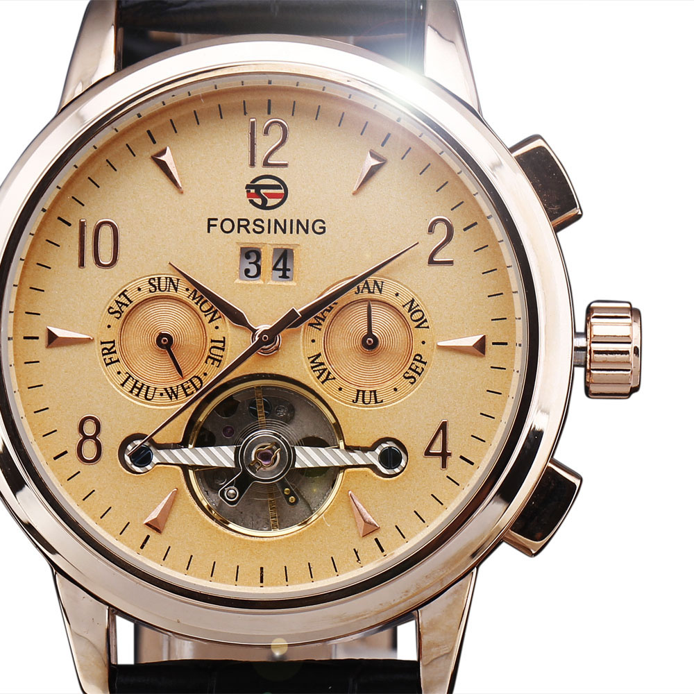 New Fashion Luxury Brand FORSINING Rose Gold Men Watch Automatic Mechanical Watches Hollow Men Tourbillon Mechanical Watch Gift<br>