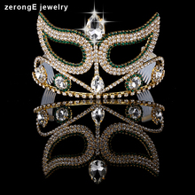 zerongE jewelrySexy Pageant Prom Accessories Beauty Contest Tall Mask Tiara use Austrian Crystal green crown tiara for girls