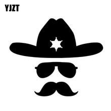 YJZT 13.9CM 11.6CM Sheriff Hat Mustache Fun Face Decor Car Sticker Vinyl  Decal Black Silver C3-0459 ecee1454dff5