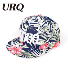 URQ Brand Floral And Leaf Embroidery Letter Hat Cap For Women And Men Spring Summer Unisex Hip Hop Style(China)