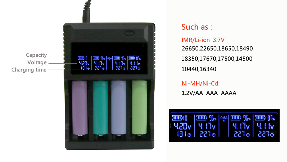 Evewher New Battery Charger 4 Slots 18650 Battery Charger For 26650 18650 14500 LCD Indicator Show Voltage Current Charging Time (12)