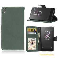 Flip PU Leather Cover Case For Sony Xperia E5 Retro Scrub Cellphone For Sony Xperia E5 Housing Card Slot Holster(China)