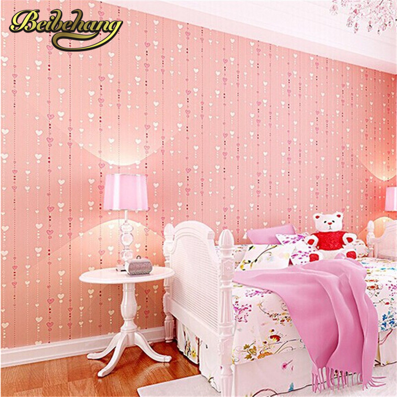 beibehang Non-woven pink love printed wallpaper roll striped design wall paper for kid room girls minimalist home decoration<br>