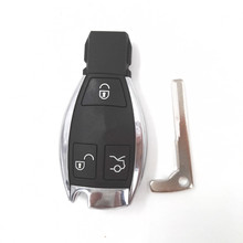 5pcs/lot New 3 Buttons Smart Remote Car Key Shell with the Board Plastic and blade for Mercedes-Benz MB(with LOGO)