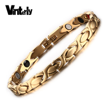 Vinterly Women Gold Color Healing Energy Negative Ion Infrared Stainless Steel Germanium Magnetic Bracelet for Women