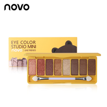 NOVO Brand Make Up Silk Slide 8 Color Eye Shadow Palette Studio Mini Shimmer Eyeshadow Powder Makeup Smooth Texture Cosmetics(China)