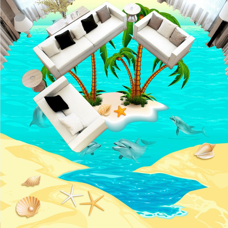 Free Shipping Sea island coconut dolphin 3D floor painting study office bedroom square non-slip Floor wallpaper mural<br>