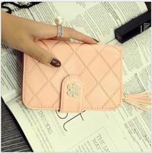 Fashion Candy Colors Women Wallets Short Thread Leather Crystal Butterfly Small Wallet Purse Cards Holder For Girls Women Laddie