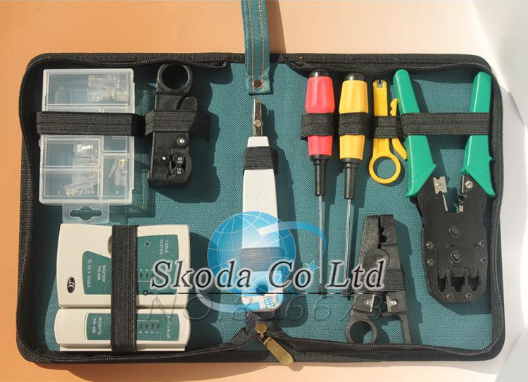 Free shipping Network Toolkit Crimping Tool+Network Tester+Screwdriver+Punchdown tool+Stripping knife<br>