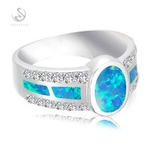 SHUNXUNZE Panic buying Silver Plated Fashion jewelry Blue opal and White Cubic Zirconia Best Sellers Ring MKY168GNO sz# 6 7 8 9