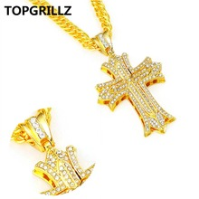 TOPGRILLZ  Zinc Alloy Crystal Gold Color Plated Cross Pendants Men Women Personality Trend Hip Hop Rock Pendant Necklace