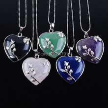 Natural Blue Sand Aventurine Rose Qua-rtz Ame-thyst Lapis Lazuli Heart Gem Stone Pendant Beads Necklace 16.5 Inches Chain TBN074