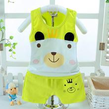 On sale summer Baby clothing set hello kitty Panda fox girls boys Children Cotton Clothes vetement enfant fille For 1 2 3 4 Year