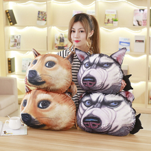 2017 MAY Husky Dog Head Stuffed Pillow Cushion With a Cute Coin Purse Working Household Toy Children Present 1pcs 3D Lifelike