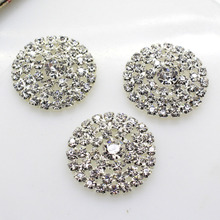 10pcs/set 28mm Metal Buckle Shiny Rhinestone Buttons Girls Hair Accessories Wedding Invitation Card Decoration(China)