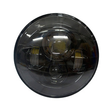 "7"" Round LED Projection Daymaker Headlight with Hi/Lo Beam for Harley Davidson Motorcycles Jeep Hummer Land Rover Black"