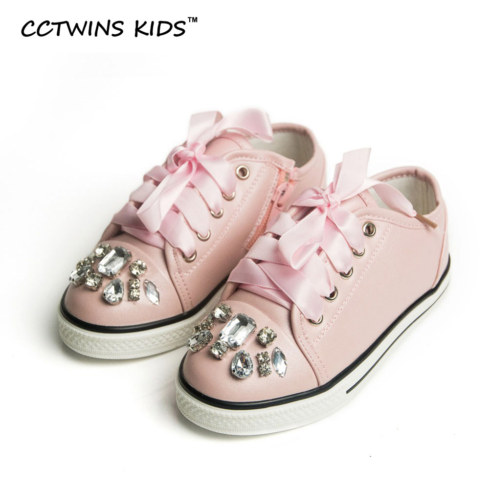 CCTWINS KIDS Spring Autumn Kid Fashion White Sneaker Children Pu Leather Trainer Toddler Girl Lace-Up Rhinestone Pink Flat F438