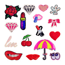 Red Lips Hot Fix Rhinestones Patches Iron On Transfer Design Strass Motifs Crystal Stones Applique For Clothing Crafts