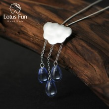 Lotus Fun Real 925 Sterling Silver Natural Handmade Fine Jewelry Ethnic Cloud Long Tassel Pendant without Necklace for Women(China)