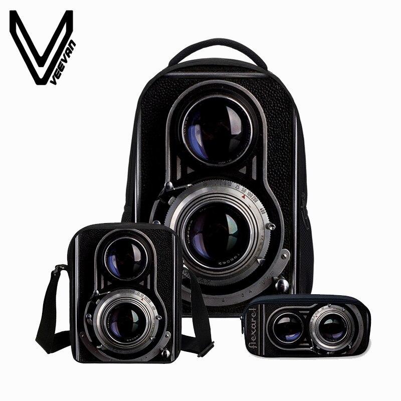 VEEVANV Fashion Mens Backpacks 3 PCS/SET School Bags 3D Camera Printing Bookbag Children Shoulder Bag Boys Cool Canvas Backpack<br>