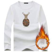 Fashion 2018 Christmas deer Printed T-shirts Men's Casual Cotton Slim fit Long Sleeve T Shirts Warm Flock tshirts Male Tops Tees(China)