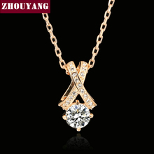 ZHOUYANG Top Quality Crystal Necklace Rose Gold Color Fashion Jewellery Nickel Free Pendant Crystal ZYN419 ZYN302(China)