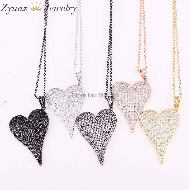 5 Strands ZYZ300-4364 High quality long heart pendant necklace Slim chain necklace micro pave CZ lovely Pendant necklace jewelry