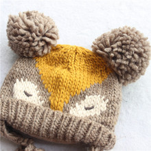 2015 Korean New Fashion Baby Girls Boys Kids Children Dual Ball Knit Sweater Cap Hat Winter Warm Knitted fox pattern