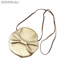 XZXBBAG Children PU Leather Golden Messenger Bags Girl Cute Bow Round Pouch Kids Casual Crossbody Case Girl Mini Shoulder Bags(China)